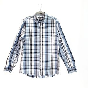Michael Kors Blue Plaid Button Down Shirt